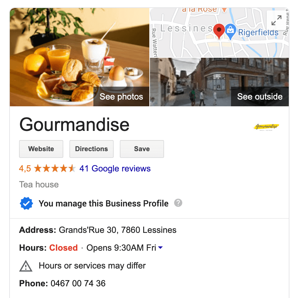 Google reviews Gourmandise